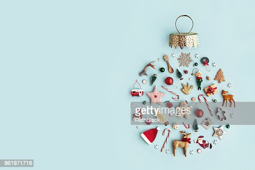 Christmas ornament flat lay : Stock Photo