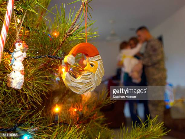 Christmas ornament hangs from the Peoples' Christmas tree after US Army Sgt Joseph Peoples returned home from Iraq December 24 2008 in Fort Stewart...