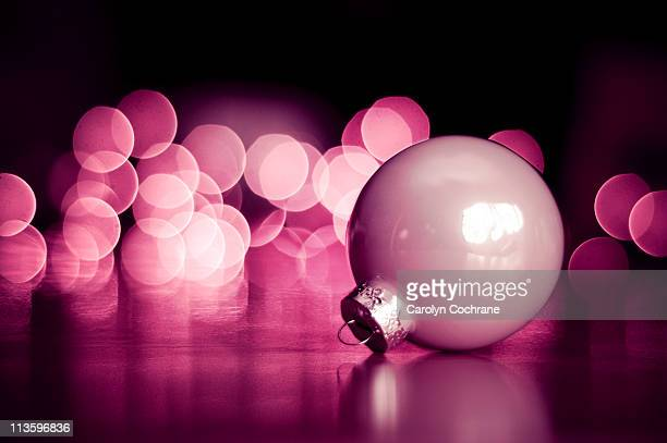 Christmas ornament with pink lights