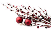 Christmas Ornaments and Berry Branch on White Background