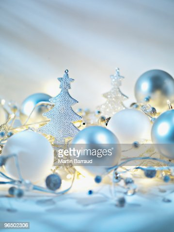Christmas ornaments and string light : Stock Photo