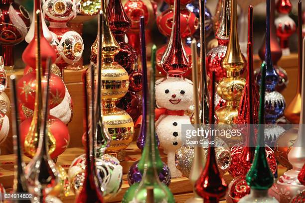 Christmas ornaments await visitors at a stall at the annual Christmas market at Alexanderplatz on the market's opening day on November 21 2016 in...