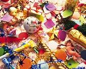 Christmas ornaments, high angle view