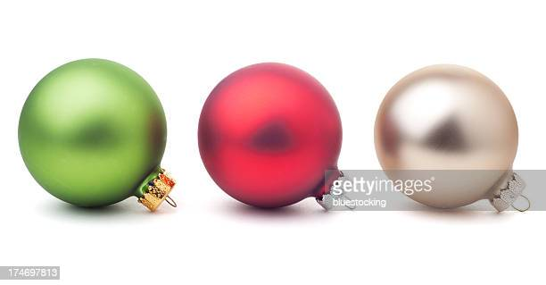 Christmas Ornaments on White with Clipping Path