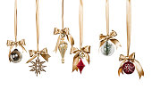 Christmas Ornaments isolated on white background ( with clipping path)