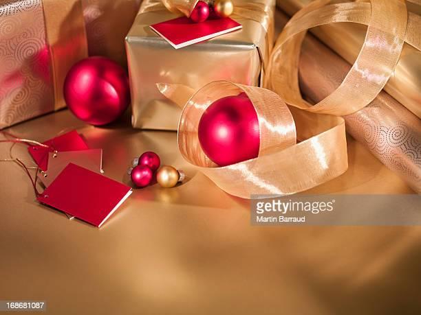 Christmas ornaments, ribbon and gifts