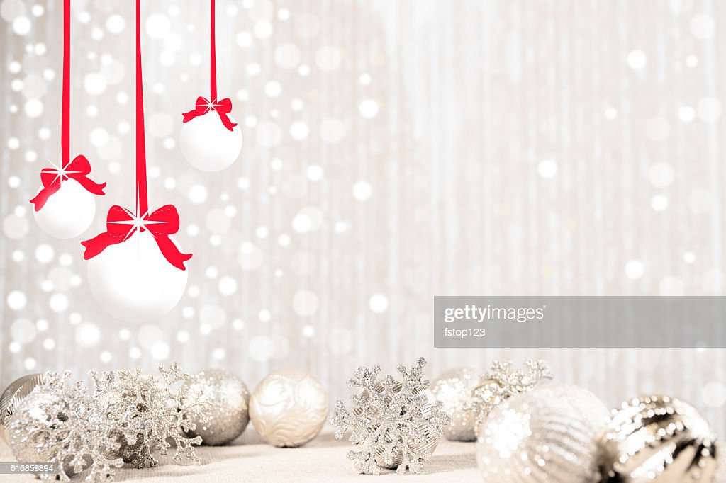 Christmas ornaments, snowflakes in silver hues. : Stock Photo