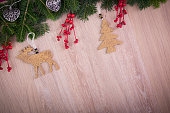 Christmas ornaments with holly, pine tree and hearts