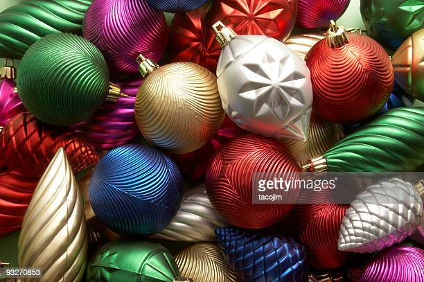 Christmas ornaments with many colors and swirls