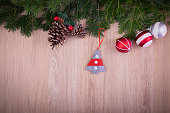 Christmas ornaments with pine tree and cones
