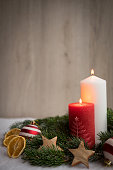 Christmas ornaments with snow, pine tree and candles