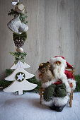 Christmas ornaments with snow, pine tree and Santa Claus