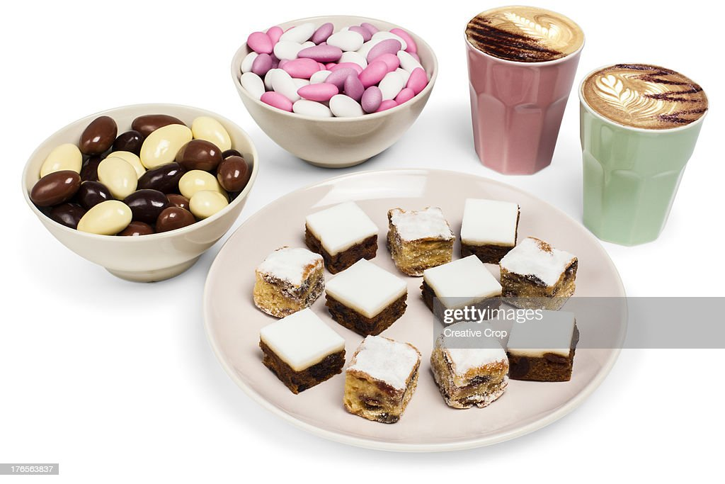 Christmas pastries & confectionery with coffees : Stock Photo