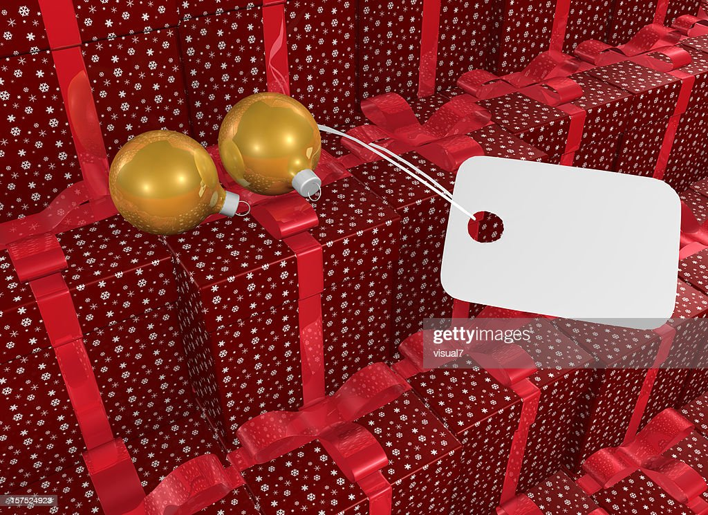 Christmas Present with Bow and Tag : Stock Photo