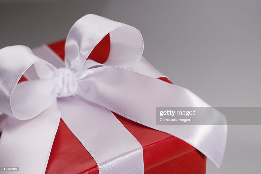 Christmas present with bow : Stock Photo