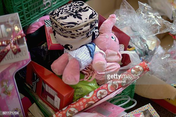 Christmas presents await distribution from theTrussell Trust Constitution Street food bank on December 11 2015 in Dundee Scotland Increased use of...
