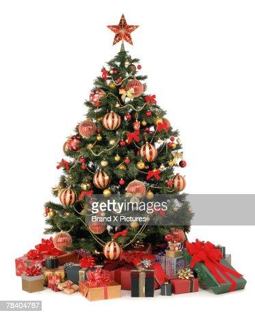 Christmas presents under tree : Stock-Foto