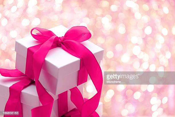 Christmas presents with illuminated background
