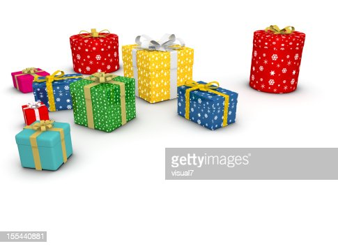 christmas presents with silver bow : Stock Photo