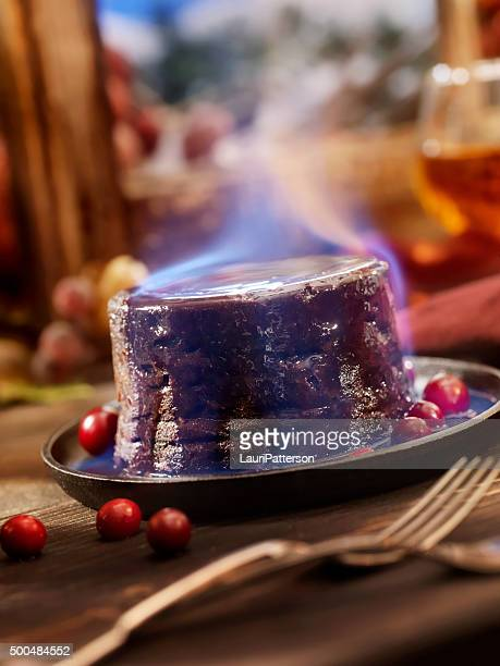 Christmas Pudding Flaming with Brandy