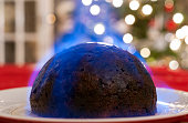 Home made Christmas Pudding, served on Christmas Day.  Soaked in brandy and set alight before serving