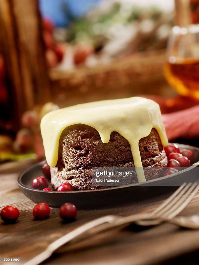 Pudding de Noël avec crème : Photo