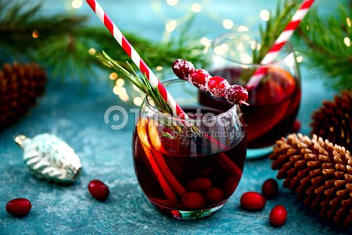 Christmas punch on a winter table : Stock Photo