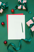 Christmas empty blank for letter to Santa or your wishlist, advent activities, on green. Top view.