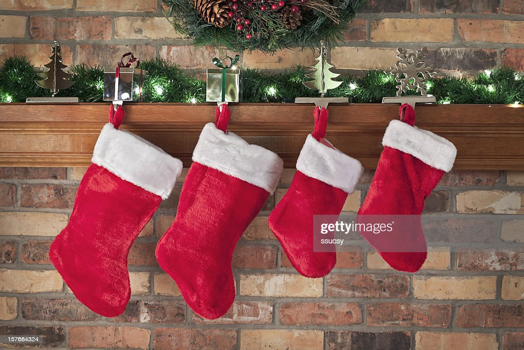 Christmas Stockings Hanging on the Mantle, Festive Close-up
