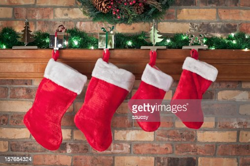 Christmas, Red Stockings, Brick Wall, Mantel, Decorations