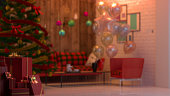 christmas room and gift box  background 3D rendering and christmas tree decoration background