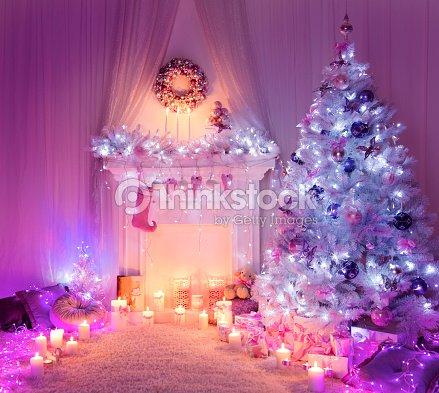 weihnachten kamin im baum lichter weihnachten zu hause interieur ... - Baum Interieur