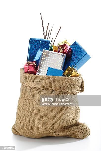 Christmas santa sac with presents