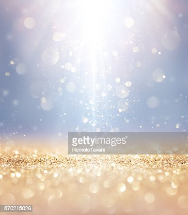 Christmas Shiny - Lights And Stars Falling On Golden Glitter : Stock Photo