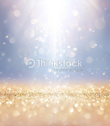 Christmas Shiny - Lights And Stars Falling On Golden Glitter : Stock Photo
