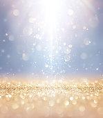 Lights And Stars Falling On Golden Glitter