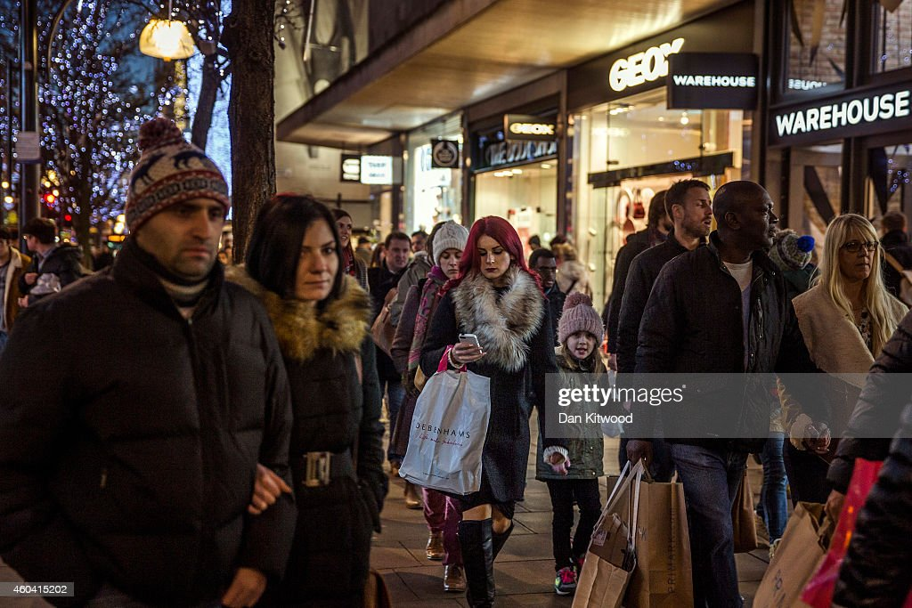 Christmas shoppers crowd Oxford Street on December 13 2014 in London England Retailers across the UK are hoping for strong Christmas season sales
