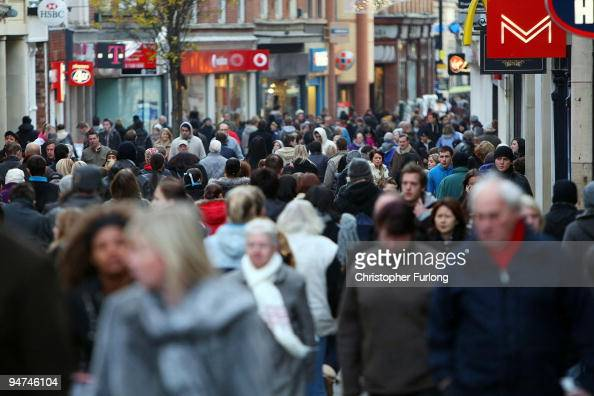 Christmas shoppers pack the streets of Nottingham as many people across the UK finish work for the seasonal holiday on December 18 2009 in Nottingham...
