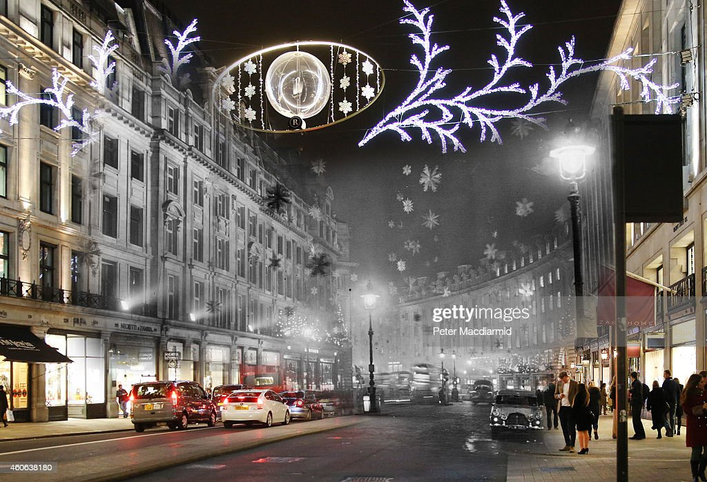 In this digital composite image a comparison has been made of London at Regent Street in 1955 (Archive, Keystone) and Modern Day 2014 (Peter Macdiarmid) at Christmas time. LONDON, ENGLAND - DECEMBER 16: Christmas shoppers walk along Regent Street on December 16, 2014 in London, England. Christmas is an annual religious feast day originally set on December 25 to celebrate the birth of Jesus Christ and is a cultural festival and public holiday celebrated by billions of people around the world.