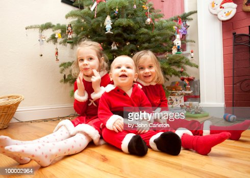 Christmas siblings : Stock Photo