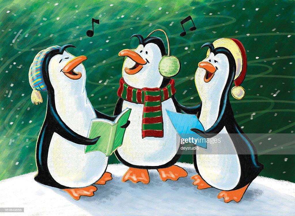 Christmas Singing Penguins : Stock Photo
