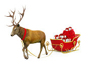Christmas Sleigh isolated on white background. 3D render