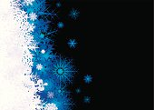 Christmas snow flake inspired background in blaue and black