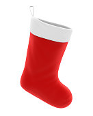 Christmas Sock isolated on white background. 3D render