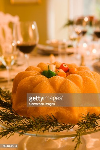 Christmas sponge cake : Stock Photo