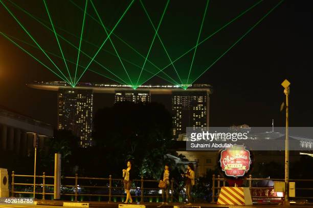 Christmas standee is seen on Elgin Bridge during the Christmas by the River event on November 30 2013 in Singapore The riverside at Boat Quay Clarke...
