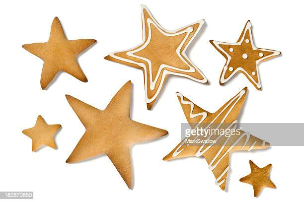 Christmas star shaped cookies in different sizes