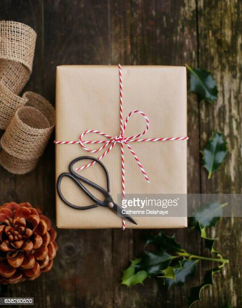 Christmas still life, presents wrapping
