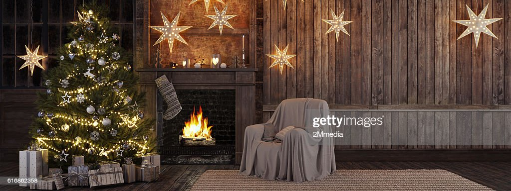 Christmas stocking on fireplace background. 3d rendering : Stock Photo