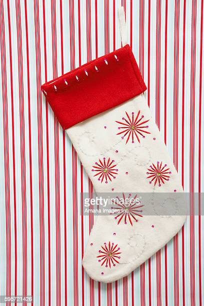 Christmas Stocking on Red and White Stripes